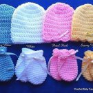 "L@@K! ADORABLE  ""NEWBORN  (0-3 MO) BABY HATS & MITTENS (GOOD NO SCRATCH MITTENS)"