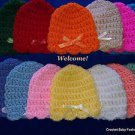 "L@@K! PRETTY ""SCALLOP EDGE CROCHET BABY HATS W/BOW""- PREEMIE,0-3 MOS, 3-6 MOS"