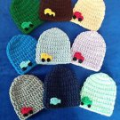 LOOK! CHARMING  BABY HATS W/ CAR - HAND CROCHET- SIZES: PREEMIE, 0-3 MOS,3-6MOS