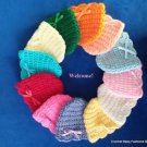 "L@@K!  LOVELY  ""REBORN SCALLOP EDGE HAND CROCHET BABY HATS W/BOWS""- (MANY SIZES)"