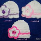 "L@@K! SWEET ""LOT OF 3 - HAND CROCHET REBORN BABY HATS W/ FLOWER - SIZE: NEWBORN"