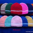 L@@K!  ADORABLE REBORN BABY HATS W/STRIPE - HAND CROCHET-SIZES: PREEMIE, 0-3 MOS