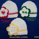 "L@@K! LOVELY ""LOT OF 3 - HAND CROCHET REBORN BABY HATS W/ FLOWER - SZ: PREEMIE"