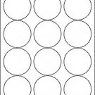"6 sheets 2-1/2"" round blank white stickers labels circle 2.5"" matte, made in USA"