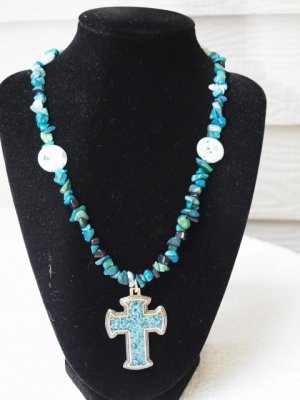 Blue Apatite chips with Turquois cross