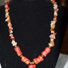 Bambo coral with agate chip beads