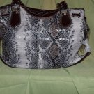 Gray and brown snake skin textured tote