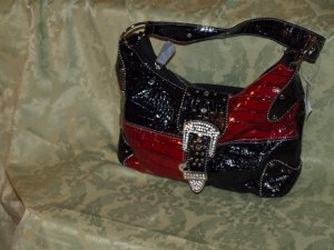 Red and black croc buckle flap handbag