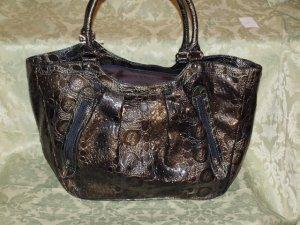 Dark Green Croc textured handbag