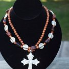 Double Strand Necklace with  Magnetic Cross Pendant