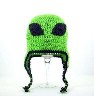 Alien Earflap Hat, Green Crochet Beanie, send size baby - adult
