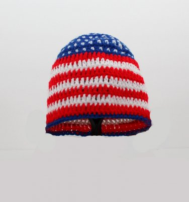 All American Hat, Crochet / Knit Beanie, send size baby - adult