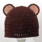 Bear Ears Hat, Brown Crochet Beanie, send size baby - adult