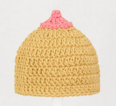 The Breast Hat Ever, Crochet Tan Beanie, Send Size Baby - Adult