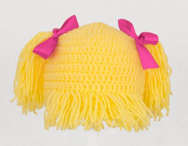 Pigtails Hat, Yellow Crochet Wig Beanie, send size baby - adult