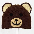 Bear Hat, Brown Crochet Beanie, send size baby - adult