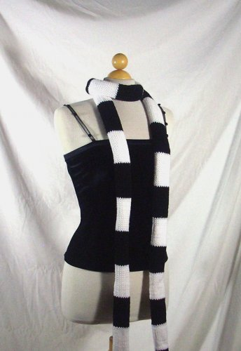 Knives Chau Scarf, Black and White Knit Scarf 8' long
