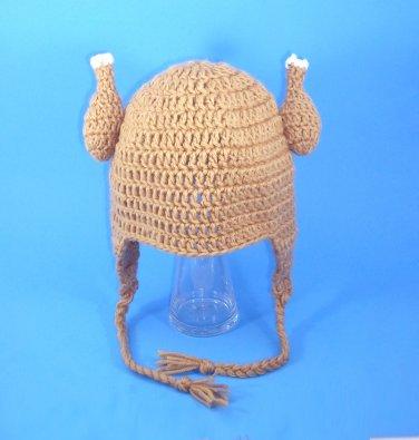 Chicken Viking Earflap Hat, Crochet Tan Beanie, Send Size Baby - Adult