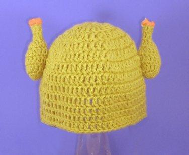 Rubber Chicken Hat, Crochet Yellow Beanie, Send Size Baby - Adult