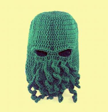 Cthulhu Ski Mask Hat, Green Crochet Beanie, Send Size Baby - Adult
