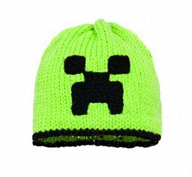 Creeper Earflap Hat, Green Crochet / Knit Beanie, send size baby - adult