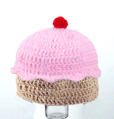 Cupcake Hat, Crochet Pink Beanie, Send Size Baby - Adult