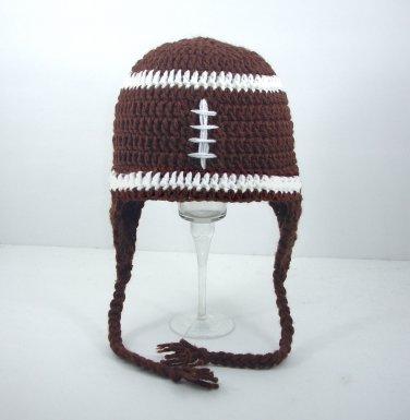 Football Earflap Hat, Brown Crochet Beanie, send size baby - adult