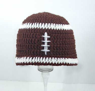 Football Hat, Brown Crochet Beanie, send size baby - adult