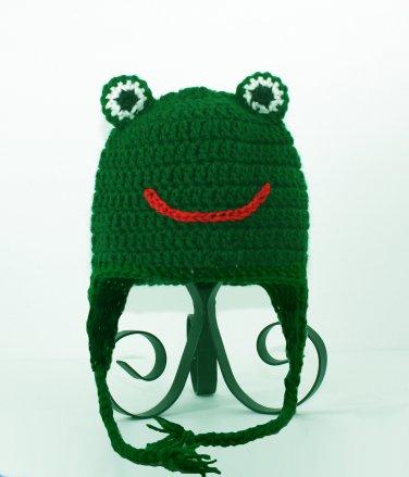 Frog Earflap Hat, Green Crochet Beanie, send size baby - adult