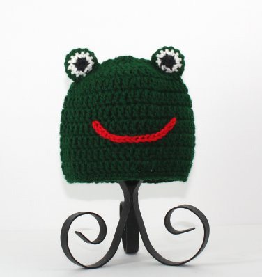 Frog Hat, Green Crochet Beanie, send size baby - adult