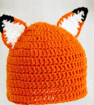 Fox Hat, Orange Crochet Beanie, send size baby - adult