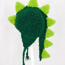 Dinosaur with Tail Earflap Hat, Green Crochet Beanie, send size baby - adult