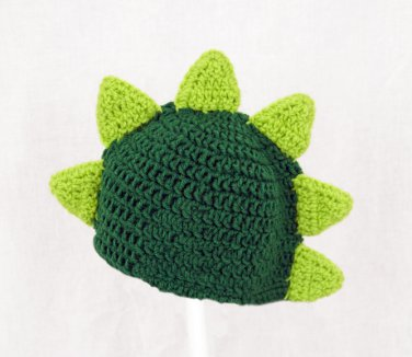 Dinosaur Hat, Green Crochet Beanie, send size baby - adult