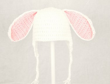 Easter Bunny Earflap Hat, White Crochet Beanie, send size baby - adult