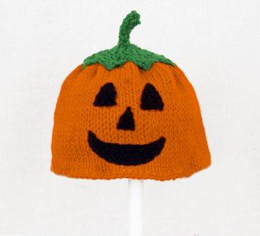 Jack O Lantern Hat for Boys, Orange Pumpkin Knit Crochet Beanie, send size baby - adult
