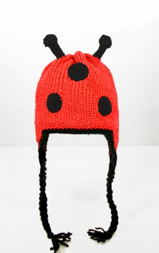 Ladybug Earflap Hat, Red Knit Crochet Beanie, send size baby - adult
