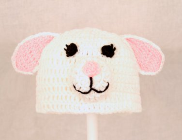Lamb Hat, White Crochet Beanie, send size baby - adult