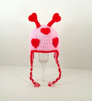 Lovebug Earflap Hat, Crochet Knit Pink Beanie, Send Size Baby - Adult