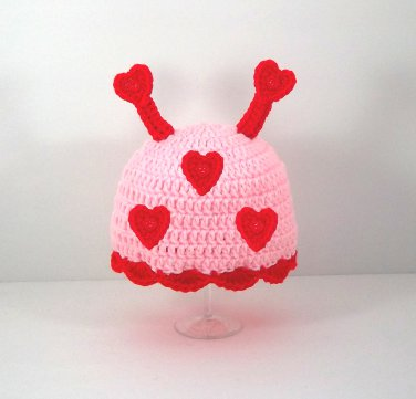 Lovebug Hat, Crochet Knit Pink Beanie, Send Size Baby - Adult