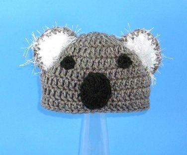 Koala Hat, Gray Crochet Beanie, send size baby - adult