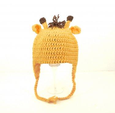 Giraffe Earflap Hat, Crochet Yellow Beanie, Send Size Baby - Adult
