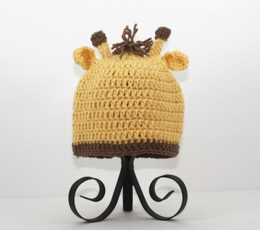Giraffe Hat, Crochet Yellow Beanie, Send Size Baby - Adult
