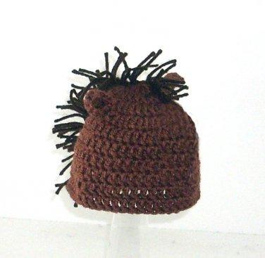 Horse Hat, Brown Crochet Beanie, send size baby - adult