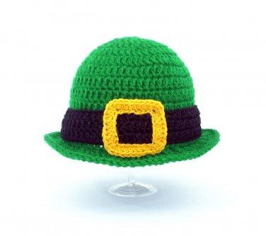 Irish Derby Hat, Green Crochet St. Patrick's Day Beanie, Send Size Baby - Adult