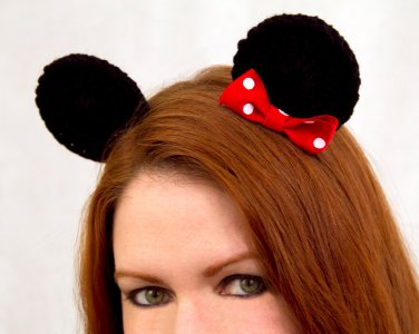Mouse Ear Clips, 2 Crochet Black Ears on Snap Clips