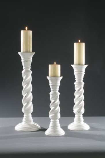 Twisted Wood Candle Holder
