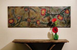 Set of three Poppy wall tiles