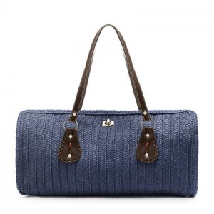 Blue, COLORED STRAW SHOULDER BAG TOTE PURSE HANDBAG
