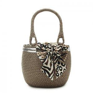 Paillette Brown Straw Handbag BEACH BAG handmade tote