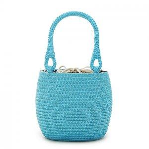 Paillette Blue Straw Handbag BEACH BAG handmade tote